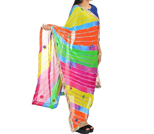 Famacart Ethnic Wear Women's Leheriya Dupatta Wrap Scarf Lace Work Chunnis & Dupattas at amazon