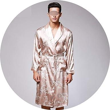 37b8f50e65 Luxury Paisley Pattern Kimono Robes Men's Silk Satin Nightgown Women  Bathrobe Sleepwear,Men Khaki Robe