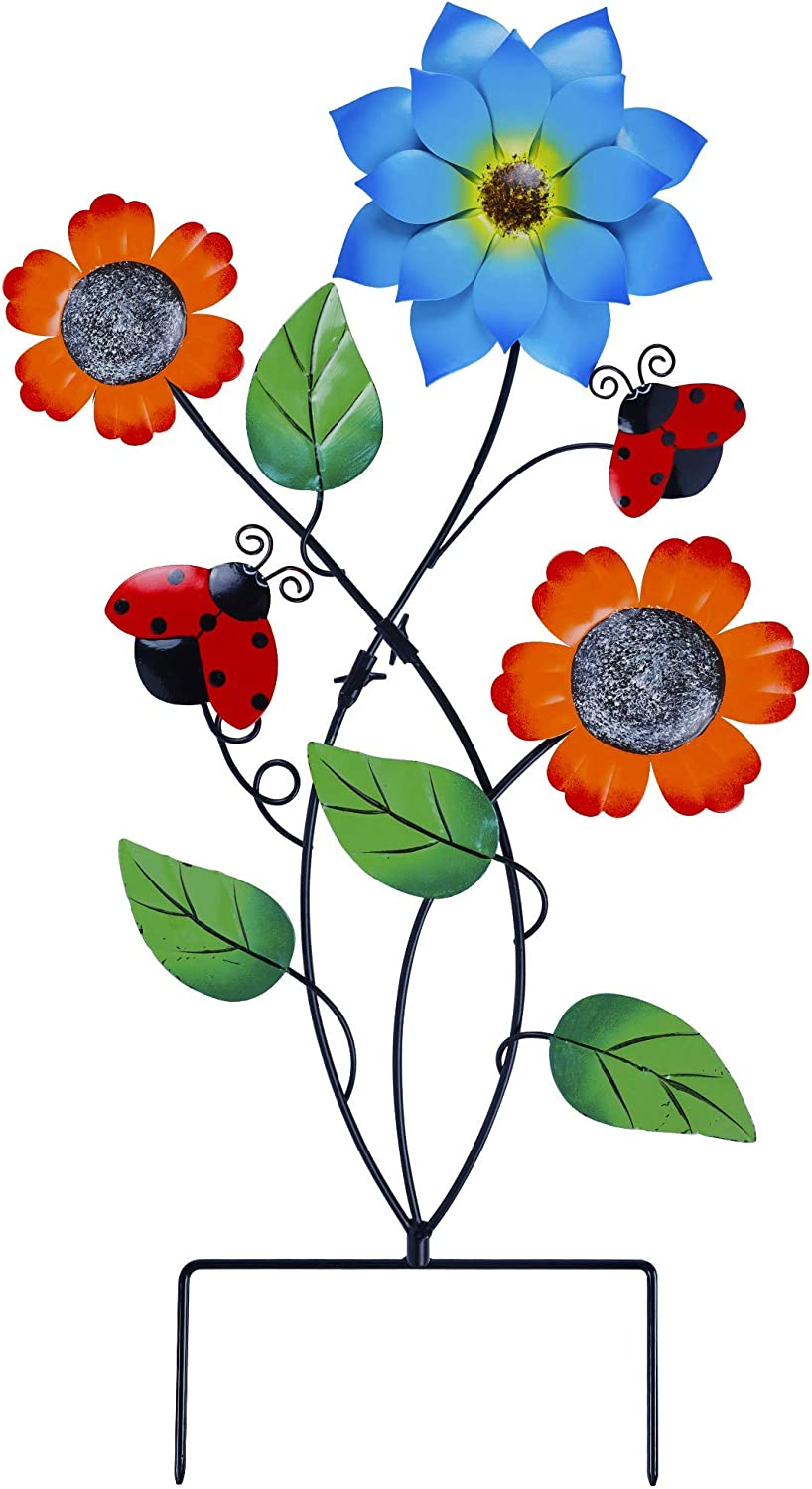 Juegoal 28 Inch Flowers Garden Stake Decor, Metal Art Colorful Look & Personalities Sunflowers and Ladybugs Decoration, Yard Outdoor Lawn Pathway Patio Ornaments