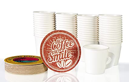 PERFECT 4oz Paper Espresso Cups (50ct) Bundled with Andaman® Coaster – Hot Beverage Cup for Coffee