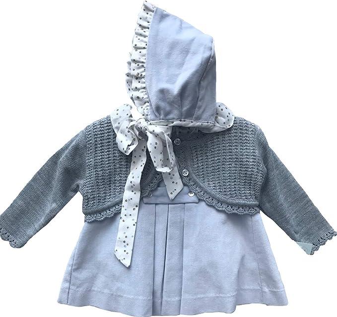 Vestido Bebe Azul Celeste Chaqueta Gris Capota 6 Meses: Amazon.es: Ropa y accesorios