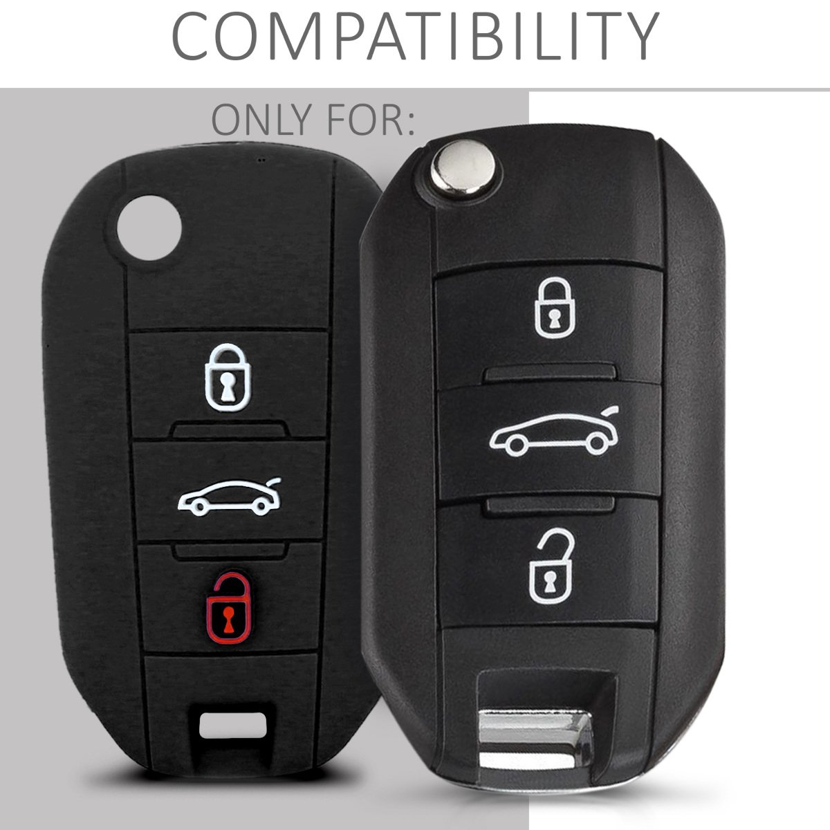 kwmobile Funda de Silicona para Llave Plegable de 3 Botones para Coche Peugeot Citroen: Amazon.es: Electrónica