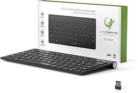 Lacerto® Teclado multimedia inalámbrico de 2,4 GHz y ruso, de Bilinguale, teclado multimedia inalámbrico ruso, BELA-DR568, color negro mate