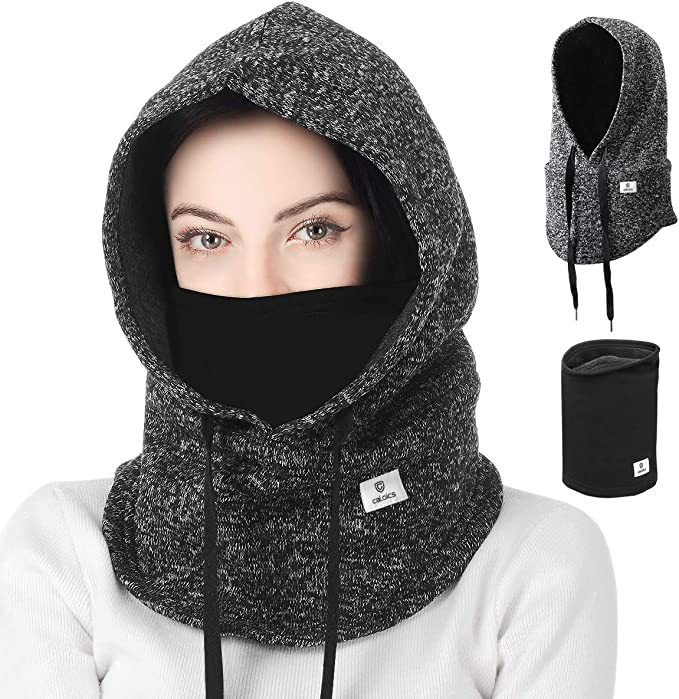 Balaclava,Windproof Ski Neck Warmer,Winter Warm Windproof Balaclava,Sporty street fashion, Winter Autumn Windproof Balaclava Face Mask Hood, Unisex Couples Skiing balaclava mask Hiking (Gray+Black)