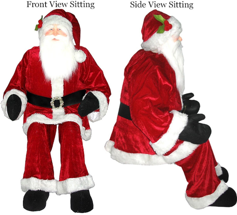 amazoncom vickerman huge life size decorative plush santa claus sitting or standing 6 home kitchen - Stuffed Santa Claus