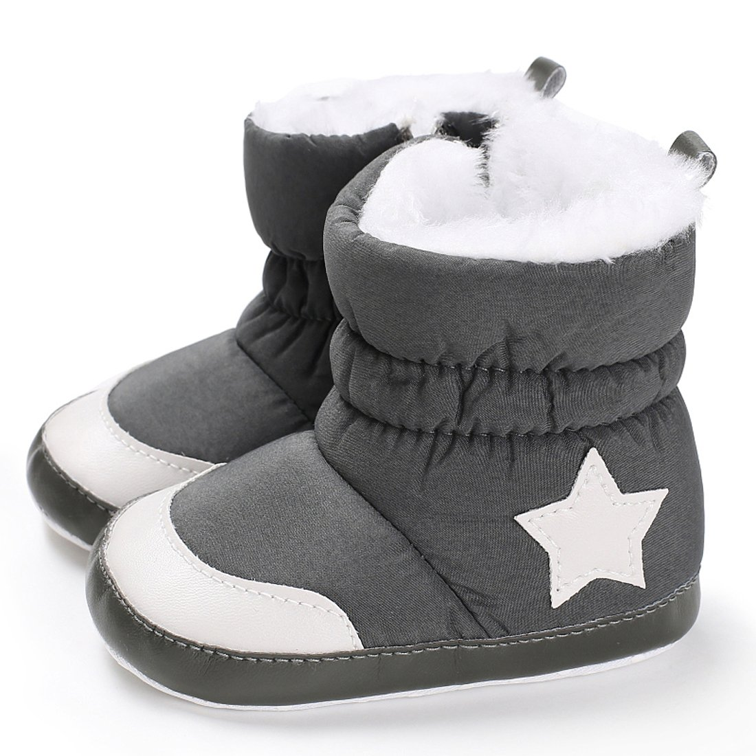 Baby Premium Soft Sole Star Anti-Slip Mid Calf Warm Winter Infant Boots Toddler Snow Boots (13cm/5.12''-12-18 Months, A-Grey)