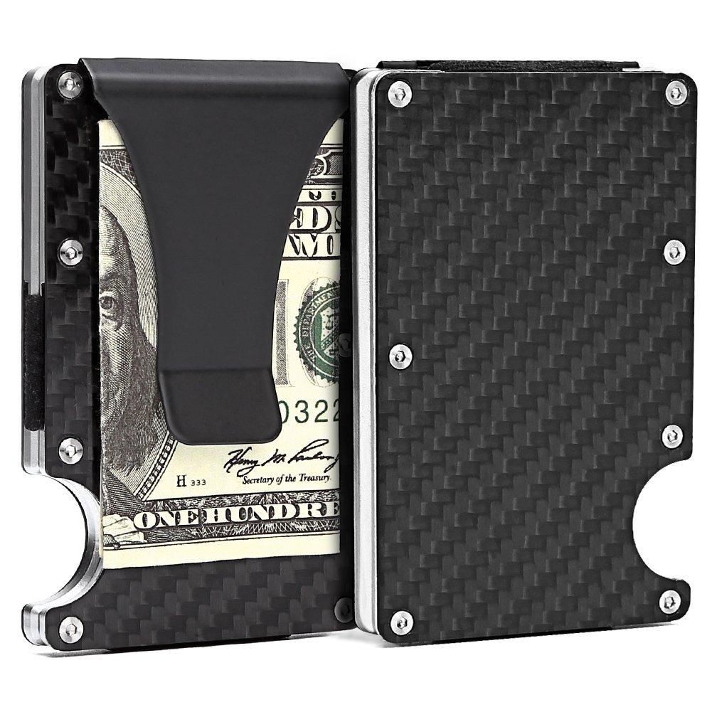Slim Carbon Fibre Front Pocket Wallet, RFID BLOCKING Money Clip (Carbon Fibre-03) (Carbon Fibre-03)