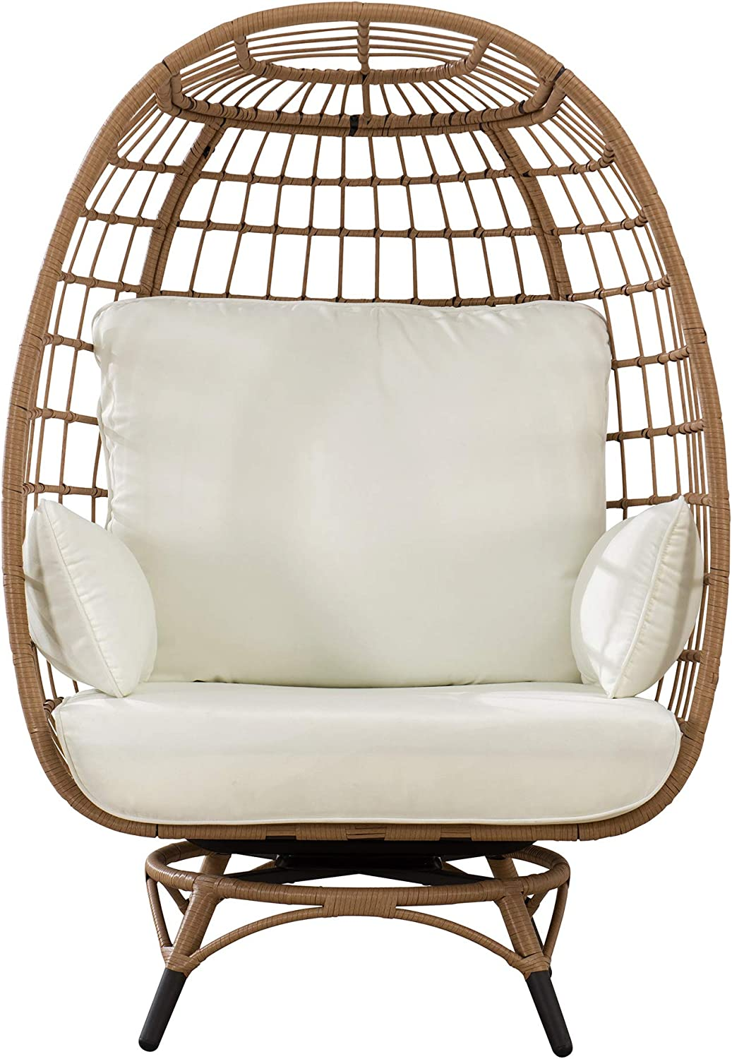 Sunjoy Simon Swivel Egg Cuddle Chair, Light Brown