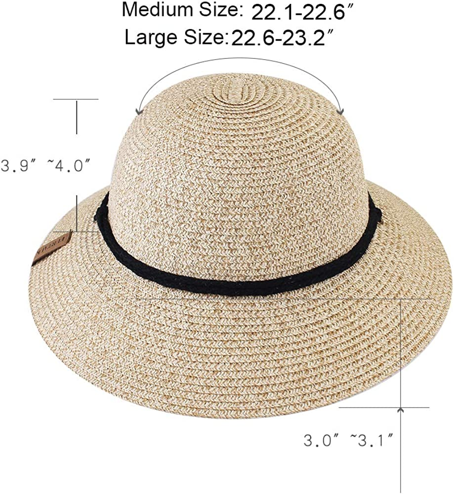 FURTALK Womens Wide Brim Sun Hat with Wind Lanyard UPF Summer Straw Sun Hats for Women for Canada