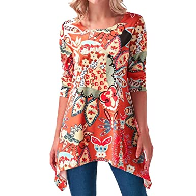 e62069f23c401 Anglewolf Fashion Womens Plus Size Round Neck Sharkbite Hem Printed T-Shirt  Blouse Ladies Casual