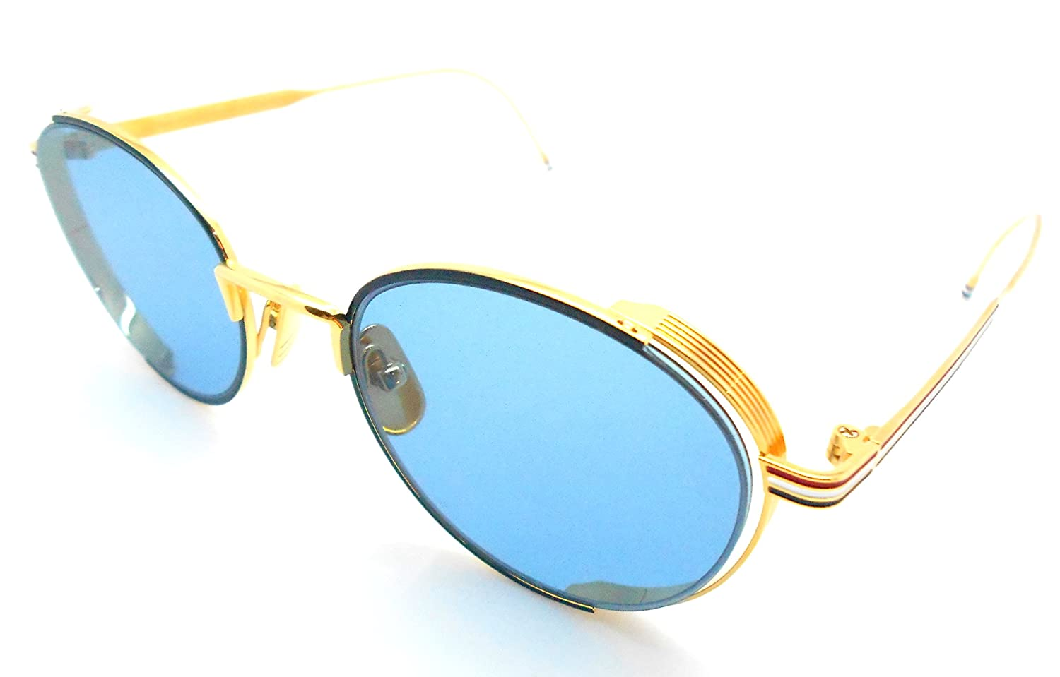 58135b3bee63 Amazon.com  Thom Browne TB-106-Navy- Gold with Blue lenses Sunglasses   Clothing