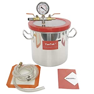 YaeTek 2 Gallon Vacuum Chamber kit for Degass Urethanes Silicones Epoxies and Resins, Stainless Steel Vacuum Chamber with Lid, Gasket, Gauge, Hose