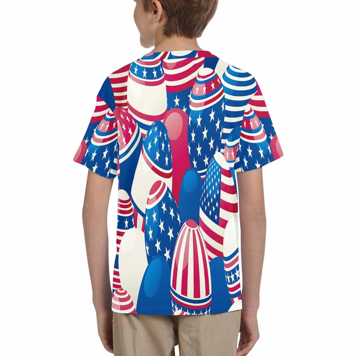 INTERESTPRINT Childs T-Shirt Easter Eggs with American Flag XS-XL
