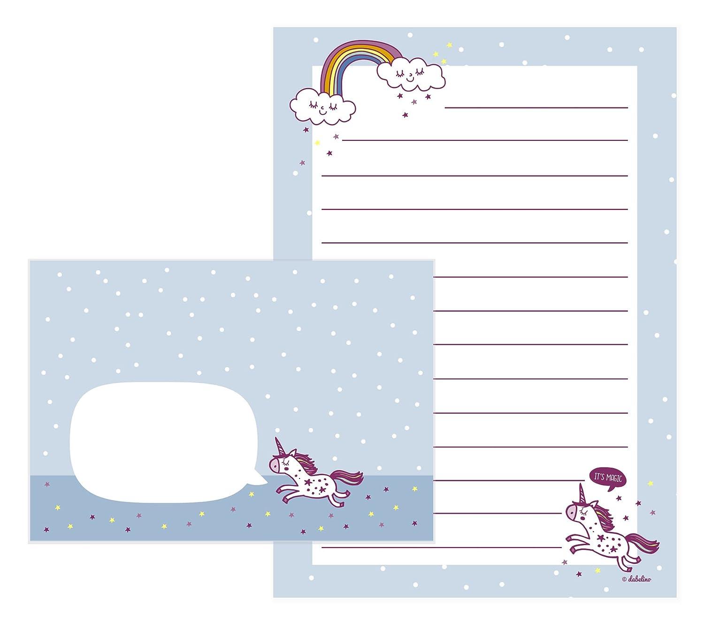 Unicorno di set di cancelleria per ragazze: 25fogli formato A5, a righe + 10Buste (Bambini, Rosa/Blu) Deko-und-Geschenke-Shop