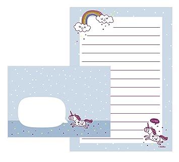 unicornio de juego de papel de cartas para nia 25 hojas de formato din a5
