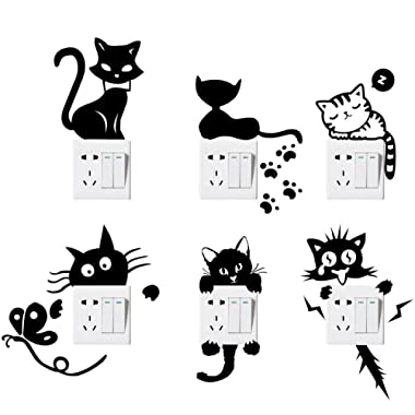 Switch Sticker, Yosemy [6 Pcs] Lovely Cute Cartoon Vinyl Wall Switch Sticker for Home Decoration, Light Switch Decor Decals