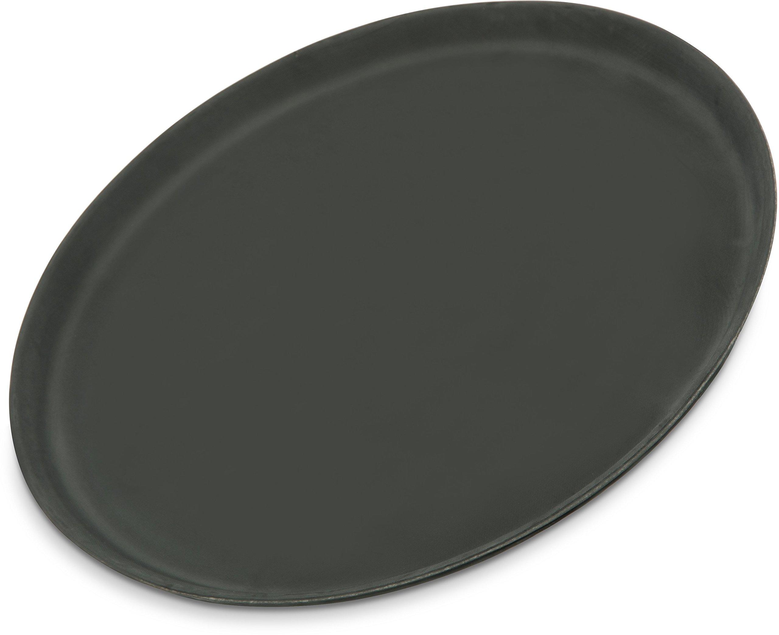 Carlisle 1400GR004 Griptite Rubber Lined Non-Slip Round Serving Tray, 14'' Diameter, Black (Pack of 12)