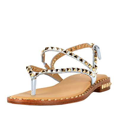 6a0a8dfdbe8b Ash PEPS Sandals Ice Blue Leather Gold Studs 41 Ice Blue  Amazon.co ...