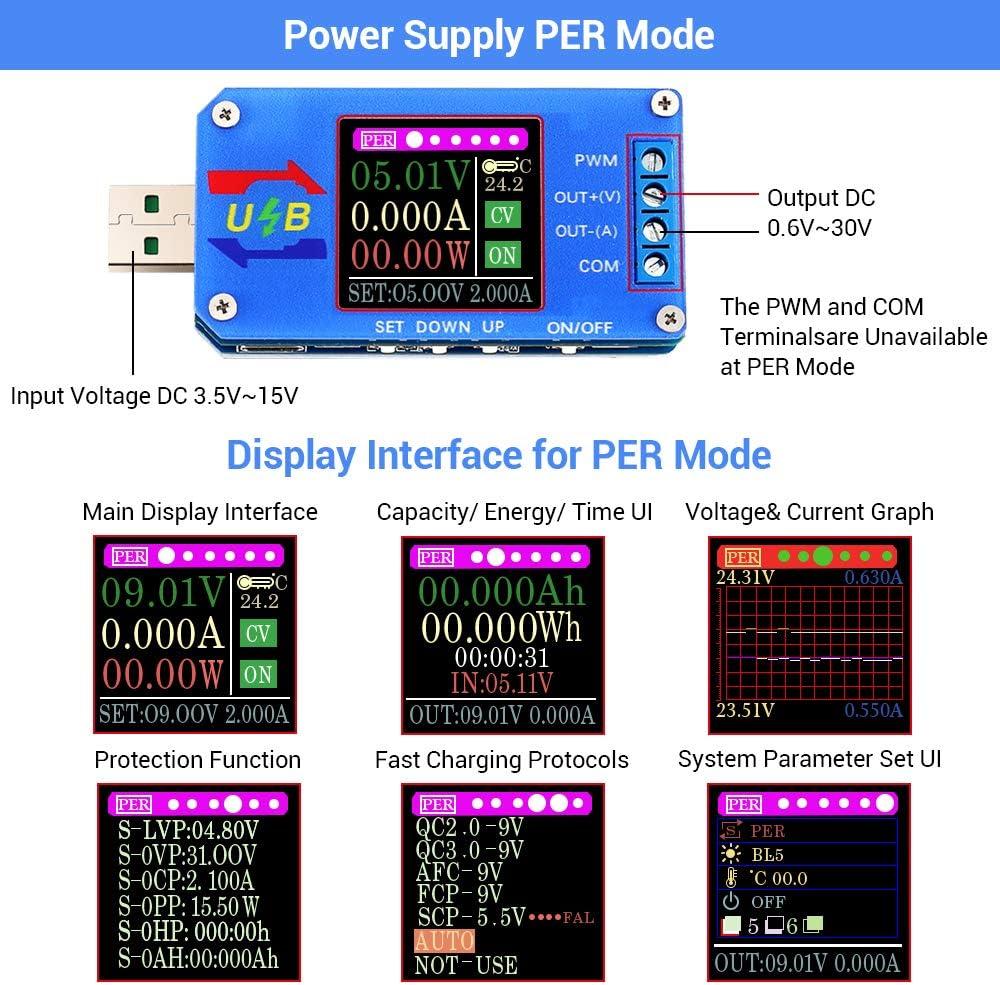 Buck Boost Power Supply Module USB Voltmeter Tester 5V Multi-Function Meter LCD Voltmeter Ammeter Battery Capacity Tester Power Tester Temperature Display PWM Generator