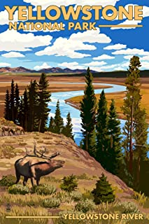 product image for Yellowstone National Park, Wyoming - Yellowstone River and Elk (36x54 Giclee Gallery Print, Wall Decor Travel Poster)