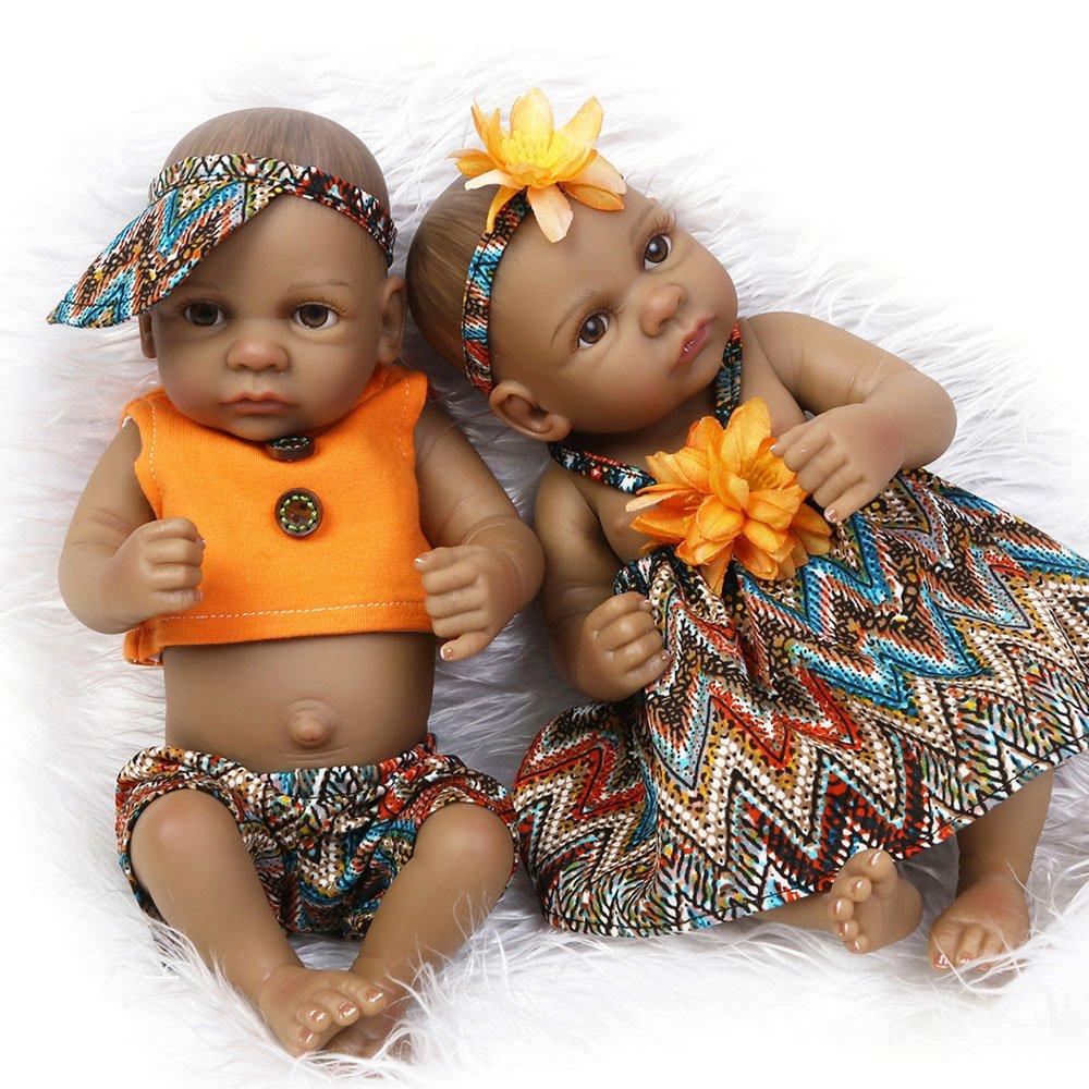 Amazon.com: Reborn Black Twins Baby Dolls African American Full Body ...