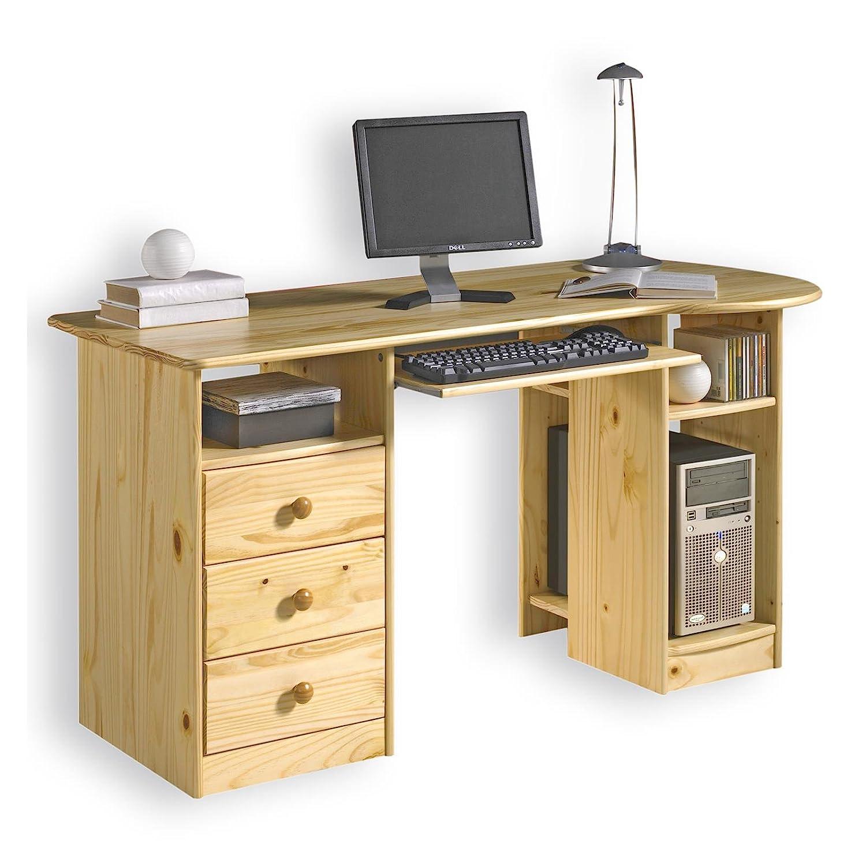IDIMEX Bureau multi rangements BOB, tiroirs casiers support clavier pin massif vernis naturel