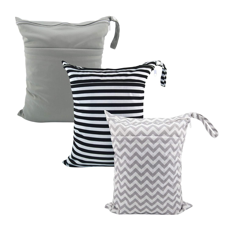 ALVABABY 3Pcs Diaper Wet Dry Bags/Travel Bags/Storage Bags/Cosmetic Bags /Handbags/Wash Bags Waterproof Reusable Cloth Diaper Bag One Size 3L-ZM01