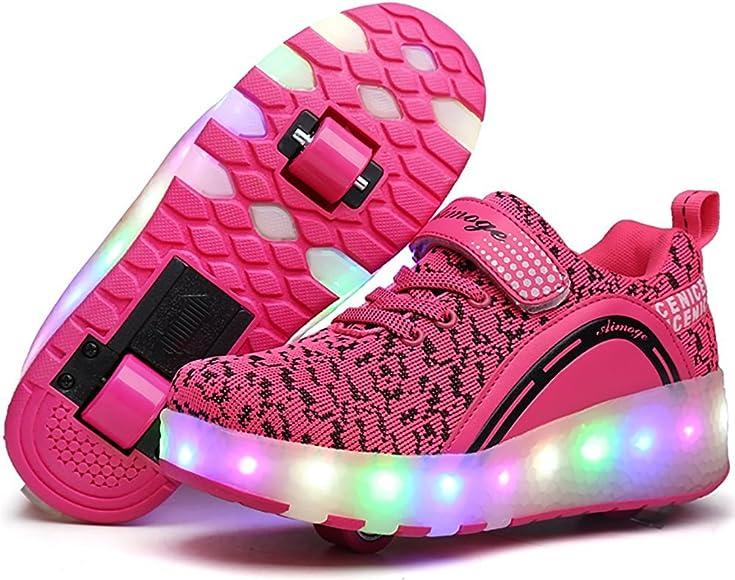 pit4tk Girls Boys LED Light Up Single Wheel Skate Shoes Fashion Roller Skate for Christmas