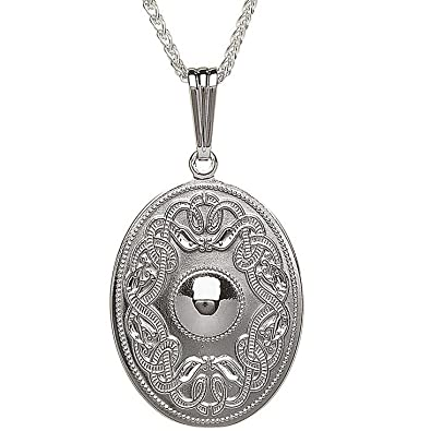 f24012a13f5de Image Unavailable. Image not available for. Color  Sterling Silver Oval Celtic  Warrior Shield Pendant Necklace