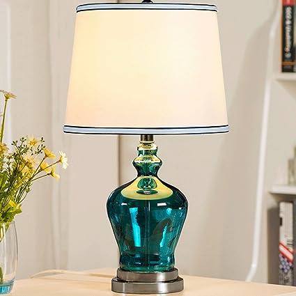 LILY Lámpara de mesa de jardín de cristal azul Lámpara de ...