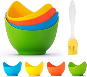 Silicone Poached Egg Cups, Non Stick Eggs Poaching Cooker Egg Poachers, Food Grade Silicone Poached Pods for Microwave Stove Top, Egg Boiler Mold Bowl for Kitchen Cooking Cookware Baking Tools