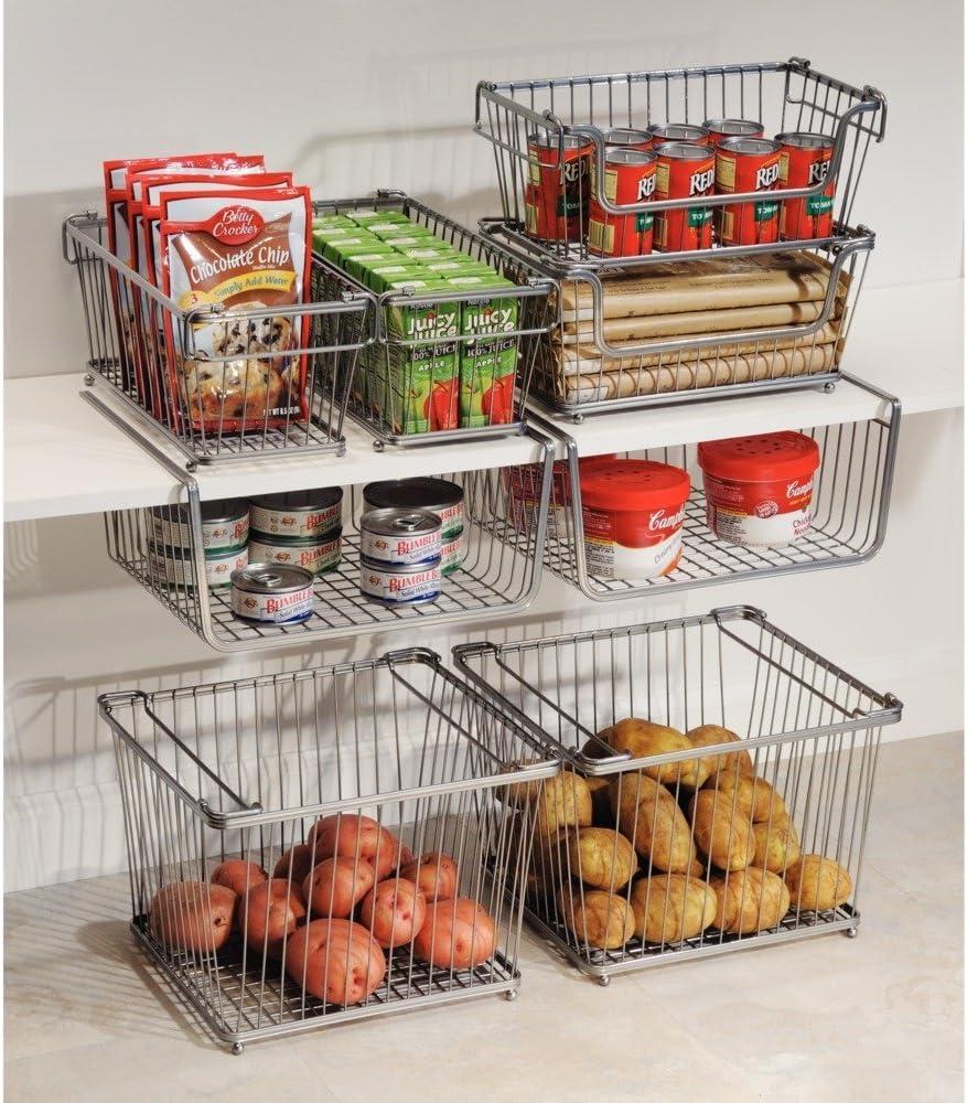 Cesta almacenaje con asas color plateado Ideal para el ba/ño Organizador cocina de acero de alta calidad cocina o despensa mDesign