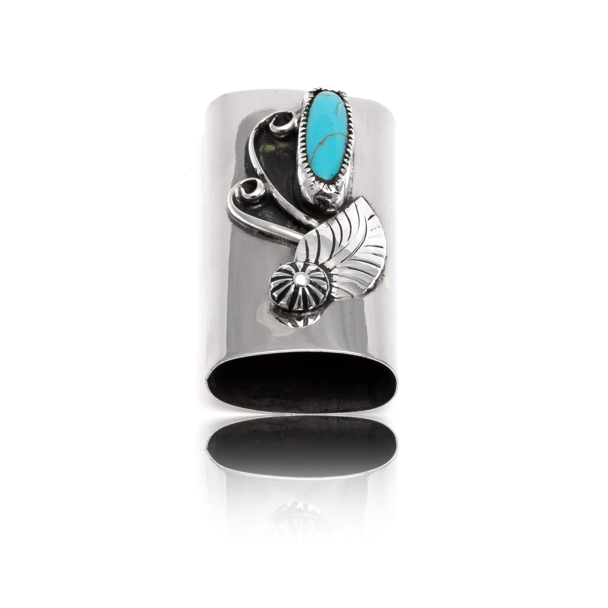 Native-Bay $200Tag Turquoise Silver Nickel Certified Navajo Flower Leaf Lighter Case 18334 Made by Loma Siiva by Native-Bay (Image #8)
