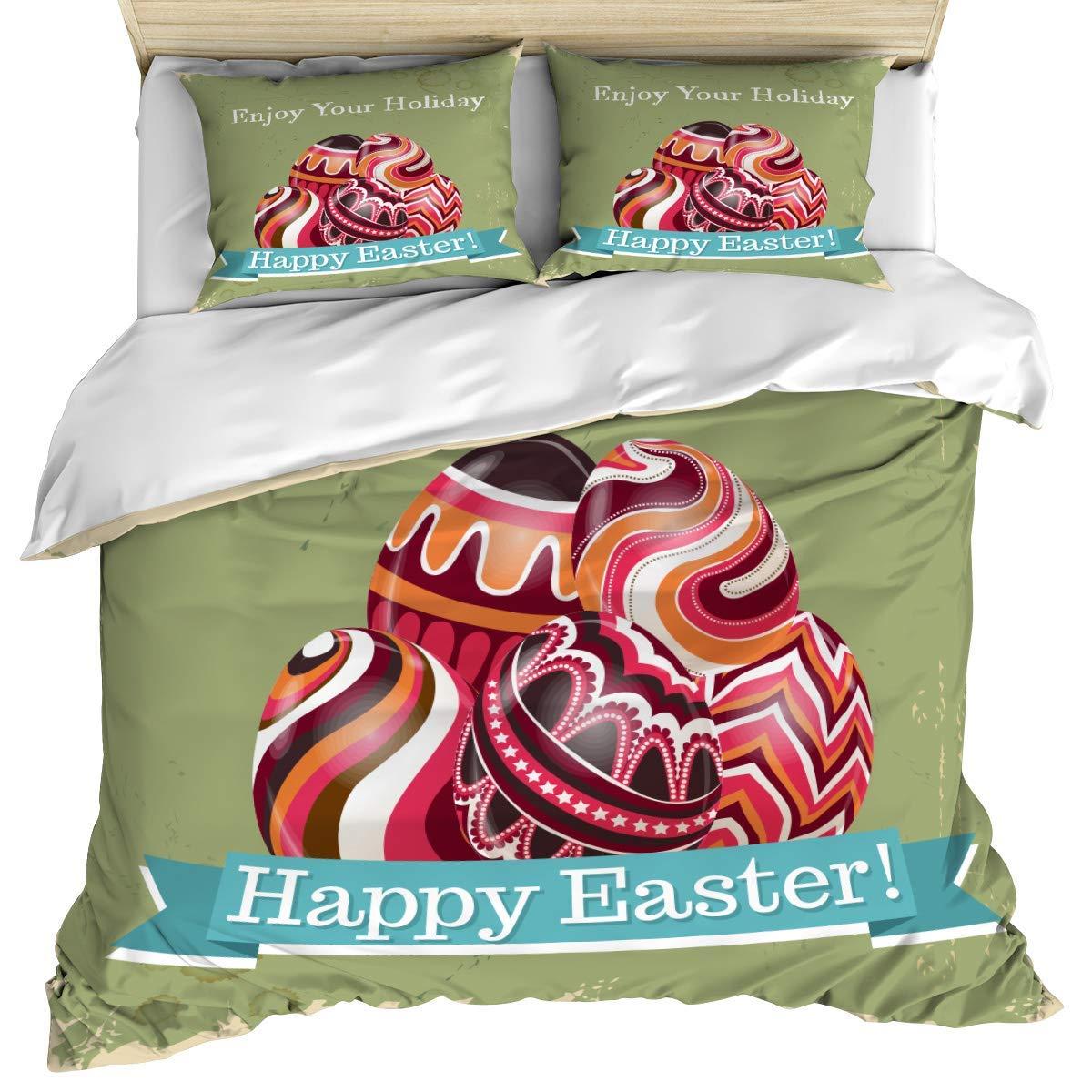 Happy Easter Juego de cama de 3 piezas Funda de edredón, Huevos de ...