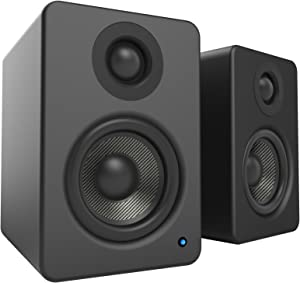 """Kanto 2 Channel Powered PC Gaming Desktop Speakers – 3"""" Composite Drivers 3/4"""" Silk Dome Tweeter – Class D Amplifier - 100 Watts - Built-in USB DAC - Subwoofer Output - YU2MB (Matte Black)"""