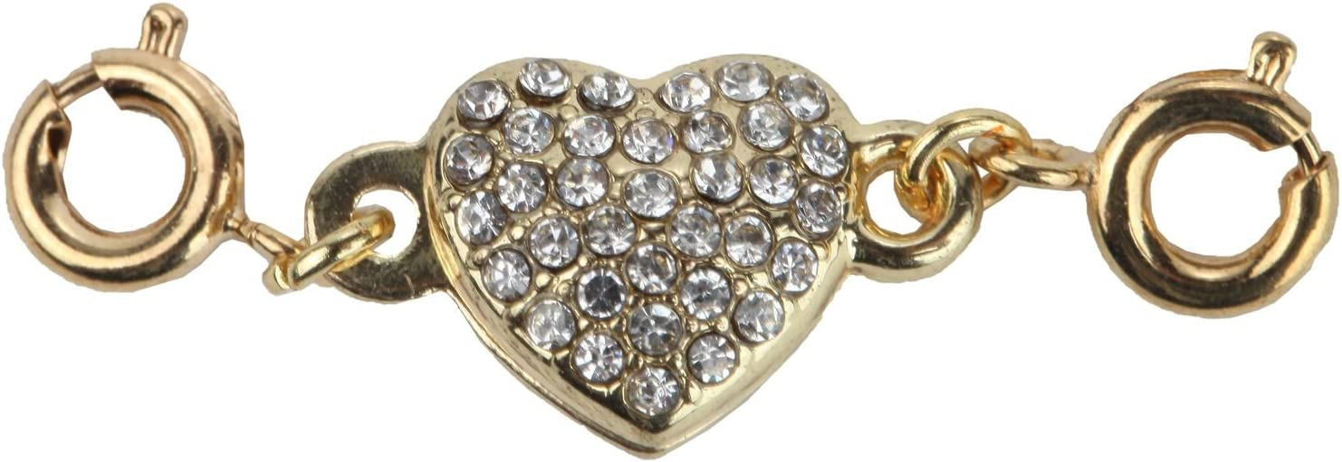 Trenton Gifts Magnetic Heart Rhinestone Jewelry Clasps Silver Gold Rose Black Tones