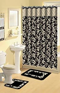 Home Dynamix Boutique Deluxe Shower Curtain and Bath Rug Set: BOU 12 Leaves Black: 17 Piece Bath Set