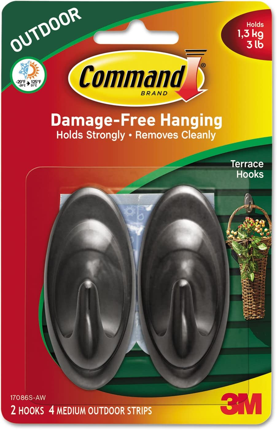 Hold 3 lbs 2 Packages of 3M Command Damage-Free Hanging Terrace Hooks