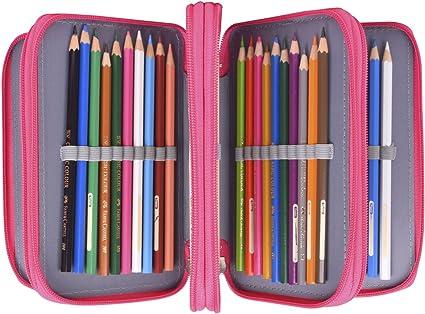 Newcomdigi Sac /à Crayon de Toile Sac /à Crayon 72 Couleurs Organisateur Crayon Porte-Crayons Grande Capacit/é Solide Durable Pratique pour Bureau Ecole Art Rose