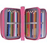 Newcomdigi Sac à Crayon de Toile Sac à Crayon 72 Couleurs Organisateur Crayon Porte-Crayons Grande Capacité Solide Durable Pratique pour Bureau Ecole Art - Rose