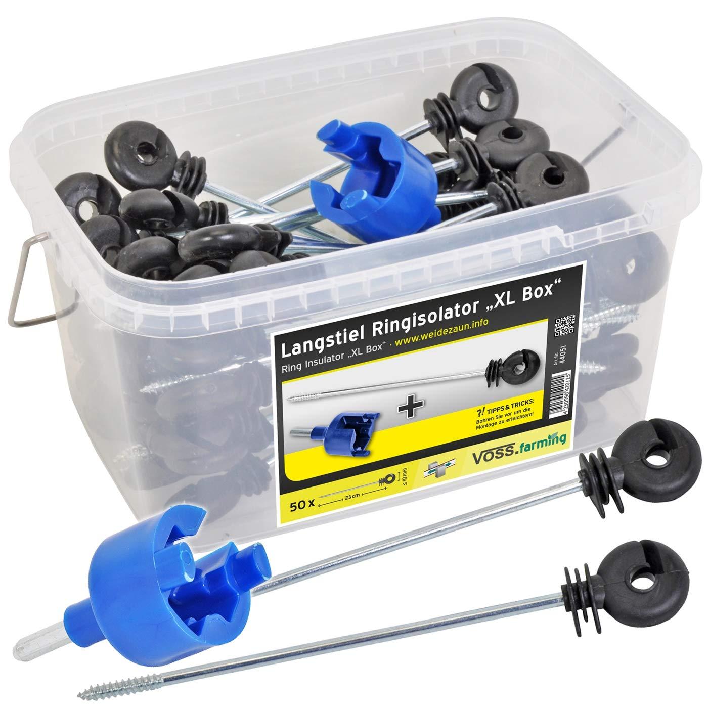 Voss.farming 50x Isolateur annulaire écarteur à longue tige XL Box » + visseur + boîte