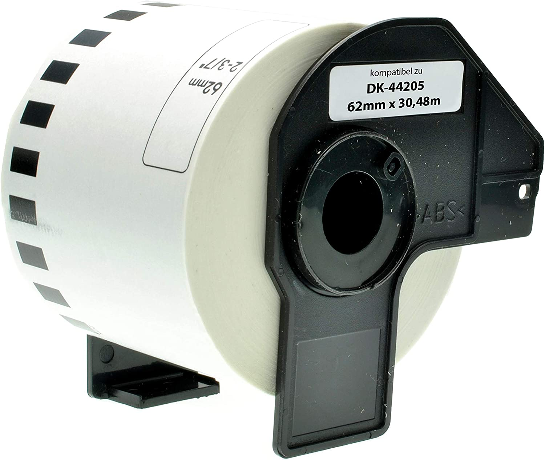 2x ENDLOS ETIKETTEN 62mm x 30.48m WASSERFEST für BROTHER P-touch QL-570