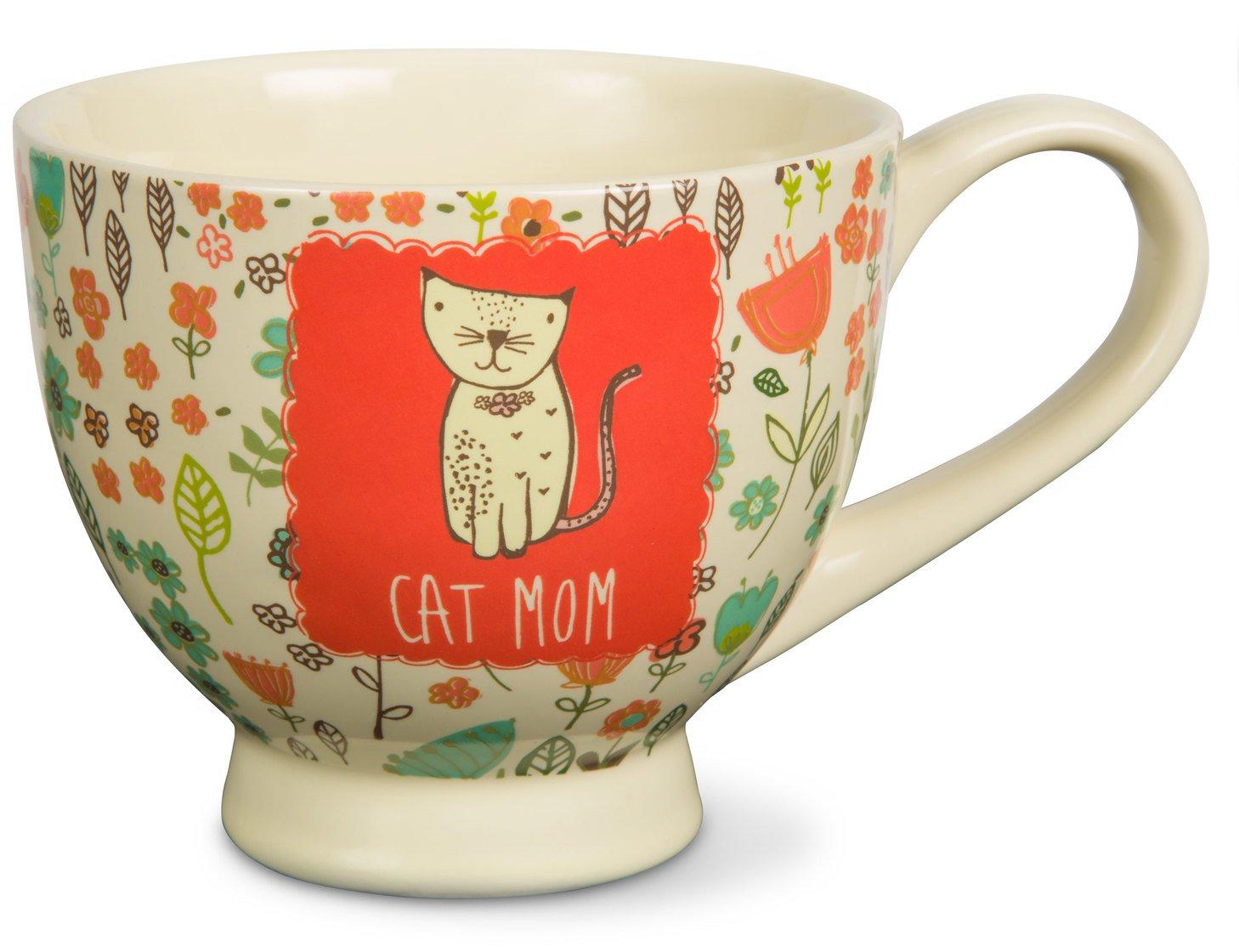Pavilion Gift Company 54007'' A Mother's Love-Cat Mom Floral Soup Bowl Mug, Red, 17 oz