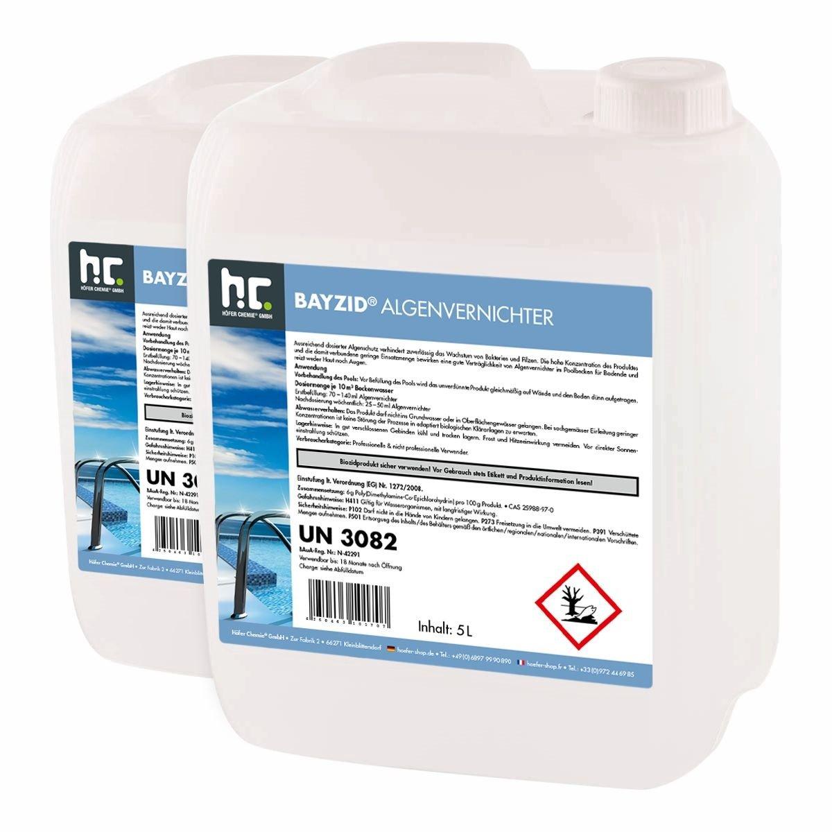 Höfer Chemie 4x5 L Pool Algenvernichter - Anti Algenmittel für Schwimmbad & Pool - schnelle Wirkung bei Algen Höfer Chemie GmbH