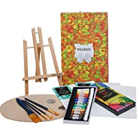 MEEDEN 22 Pcs Acrylic Painting Set with 11.8'' Tabletop Easel, 12 Colors Acrylic Paints, 3 Canvas Panels, 5 Paint…