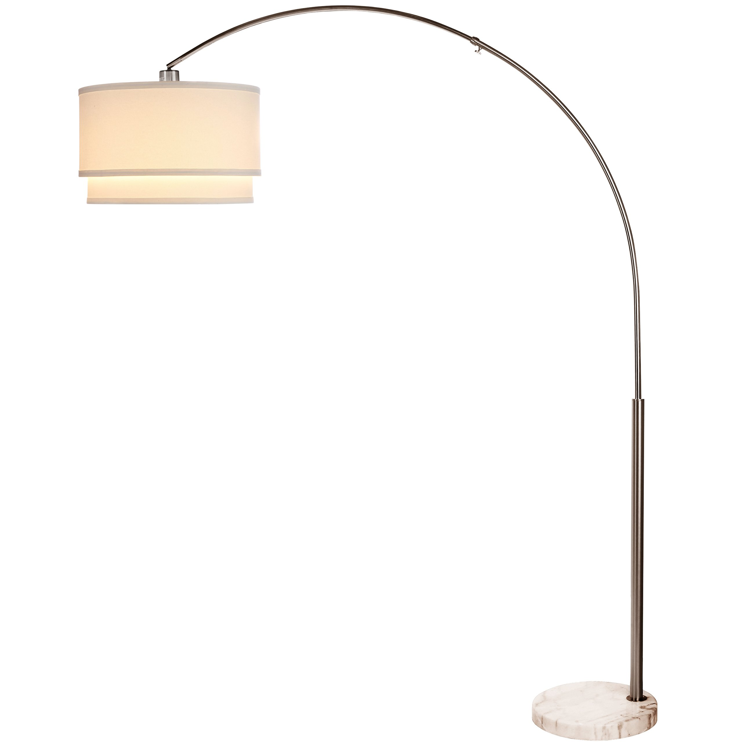 Brightech - Mason LED Floor Lamp- Modern Arc Lamp with Hanging Shade and Marble Base - 9.5 Watt Energy Saving LightPro LED Bulb Included - Mood Office Living Room Ambience Lighting - Satin Nickel