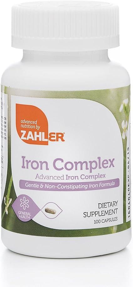 Amazon.com: Complejo de hierro Zahlers, suplemento de hierro ...