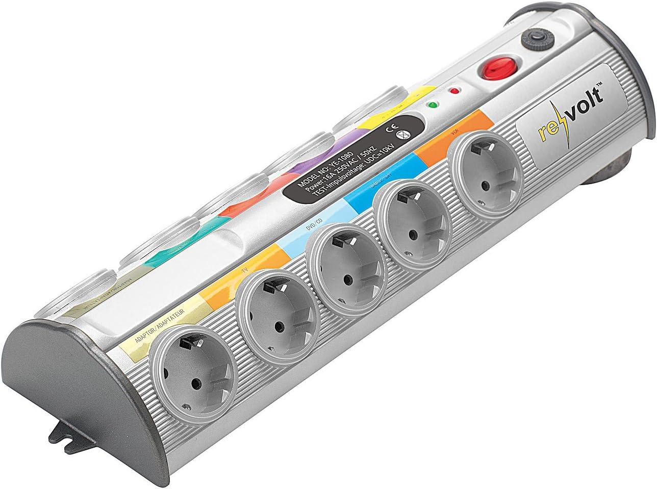 REVOLT Bloc multiprise 5 prises /& 2 ports de chargement USB