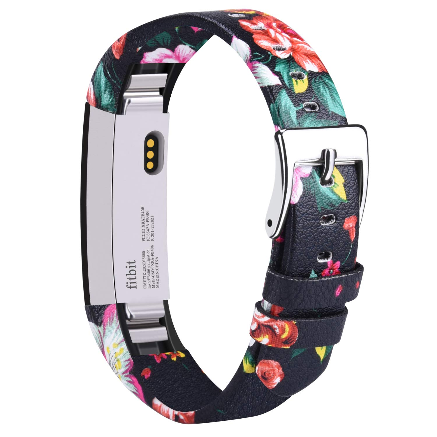 Vancle Leather Bands Compatible with Fitbit Alta/Fitbit Alta HR for Women Men, Adjustable Replacement Accessories Strap with Buckle for Fitbit Alta and Fitbit Alta HR (.Floral Red)