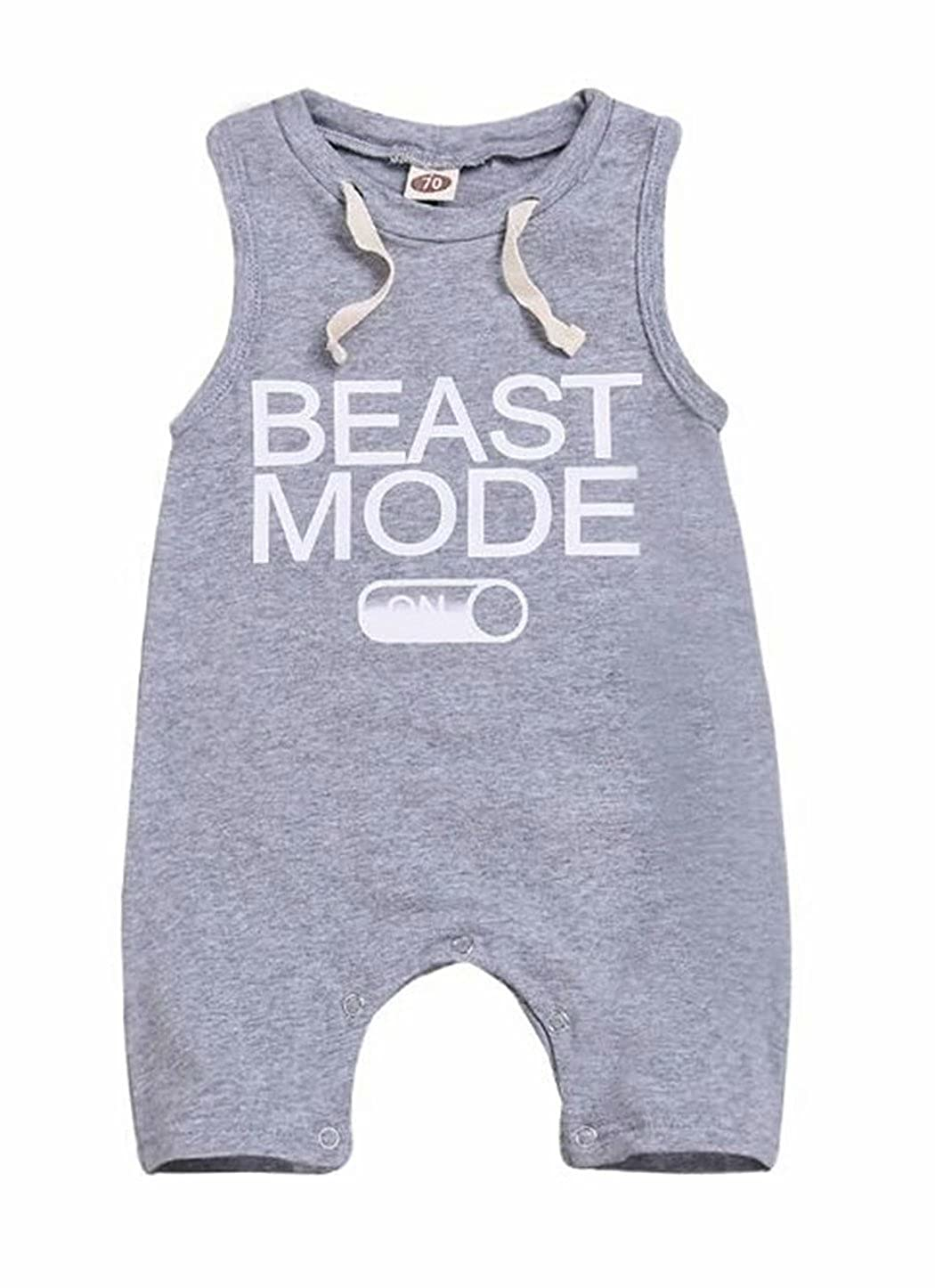 BANGELY Newborn Baby Boys Beast Mode Funny Saying Letter Romper One-Piece Sleeveless Jumpsuit